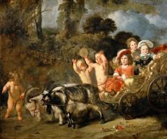 Фердинанд Балтасарс Боль. Дети из знатных семей в повозке, запряженной козами