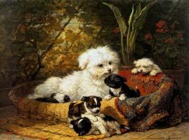 Генриетта Роннер-Книп. Собака со щенками в саду