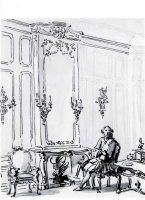 Джованни Антонио Каналь (Каналетто). Венецианский интерьер с мужчиной, сидящим у огня