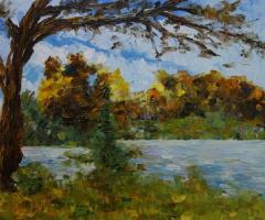Лариса Луканева. Пейзаж с деревом на фоне гор