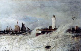 Alexey Petrovich Bogolyubov. Tide in a storm. Trepor