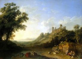 Якоб Филипп Хаккерт. Пейзаж с развалинами храмов в Сицилии