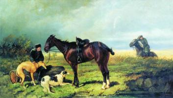 Nikolay Egorovich Sverchkov. Hunters.Halt in the hunt.