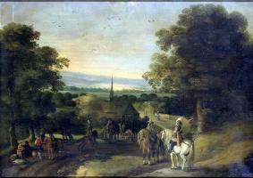 Изак ван Остен. Пейзаж с группой кавалеристов