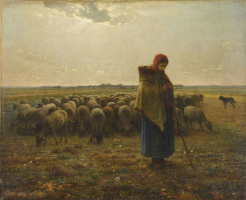Jean-François Millet. Cowgirl and herd