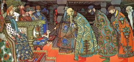 "Ivan Yakovlevich Bilibin. Trade guests at Saltan. Illustration to ""The Tale of Tsar Saltan"" by A. S. Pushkin"