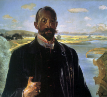 Jacek Malchevsky. Self-portrait on the background of the Vistula