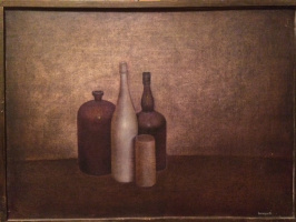 Still life with a white bottle