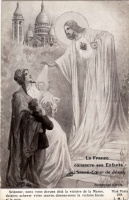 France blesses his children before the Holy heart of Jesus