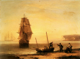 Томас Луни. Рыбаки разгружают улов с торгового судна