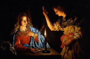 Matthias Stomer. The Annunciation