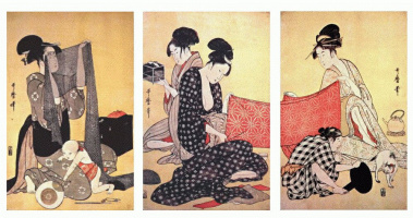 Китагава Утамаро. Женщины создают платья 1-Триптих