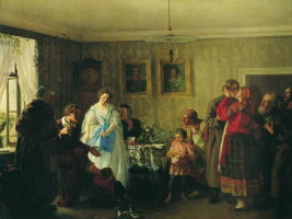 Grigory Grigorievich Myasoedov. Congratulations to the young in the house of the landowner. For this picture, the artist was awarded a small gold medal. State Russian Museum, St. Petersburg