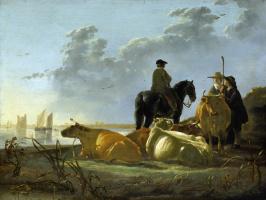 Альберт Якобс Кейп. Крестьяне и крупный рогатый скот на берегу реки Мервед