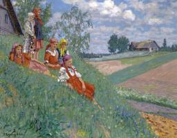 Николай Петрович Богданов-Бельский. Дети на лугу