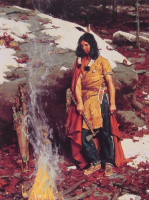 Гилберт Галлии. Индейци у костра