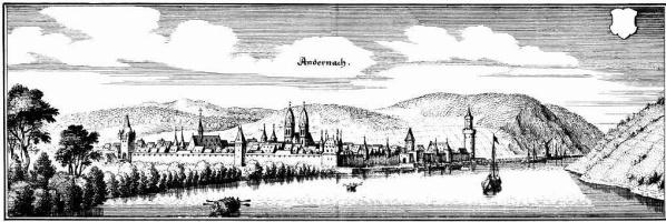 Маттеус Мериан Старший. Андернах, общий вид с берегом Рейна