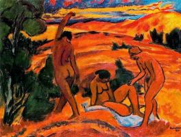 Макс Пехштейн. Три женщины на фоне пейзажа