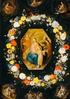Франс Франкен Младший. Святое семейство в гирлянде из цветов.(совм с Яном Брейгелем Ст)  Около 1620