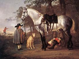 Альберт Кейп. Серая лошадь в пейзаже