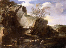 Сальватор Роза. Rocky Landscape with Herdsmen and Cattle