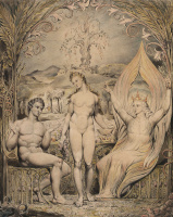 """William Blake. Raphael warns Adam and eve. Illustration to the poem of Milton's """"Paradise Lost"""""""