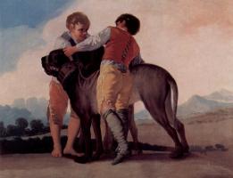 Франсиско Гойя. Эскизы гобеленов для королевских дворцов Прадо и Эскориал. Мальчики с мастифом