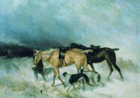 Nikolay Egorovich Sverchkov. Horses and greyhounds.