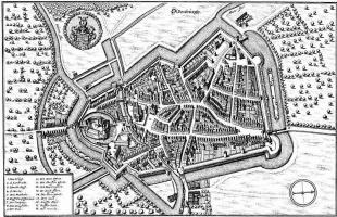 Маттеус Мериан Старший. Ольденбург, панорамный план с востока