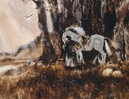 Александр Викторович Шевелёв. Пушкин в Святых горах.Бум. Темпера.42 х 55 см.1987