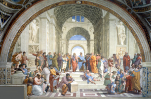 Raphael Santi. The school of Athens. The Stanza della Segnatura in the Vatican Museum