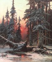 Юлий Юльевич Клевер. Зимний лес на закате