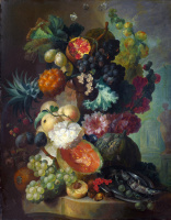 Ян ван Ос. Фрукты, цветы и рыба