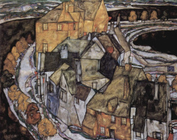 Egon Schiele. Krumau. Crescent of houses II