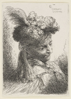 Giovanni Benedetto Castiglione. Man in a headdress with a plume