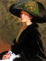 Лила Кэбот Перри. Автопортрет. Зеленая шляпка