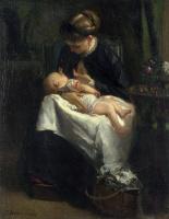 Иаков Марис. Молодая женщина кормит своего ребенка