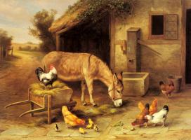 Эдгар Хант. Куры и осел на скотном дворе