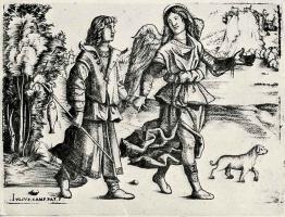 Джулио Кампаньола. Товия с ангелом