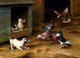 Эдгар Хант. Щенки и голуби