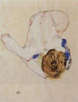 Egon Schiele. Nude leaning forward