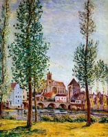 Alfred Sisley. View of Moret-sur-Loing through the trees