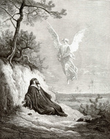 Illustration to the Bible: Angel brings food and drink to the prophet Elijah