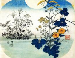 Утагава Хиросигэ. Цветы на фоне лунного диска