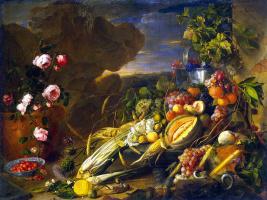 Ян Давидс де Хем. Плоды и ваза с цветами