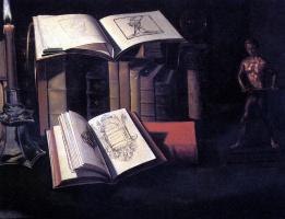 Себастьян Штоскопф. Натюрморт с книгами, свечой и бронзовой статуей