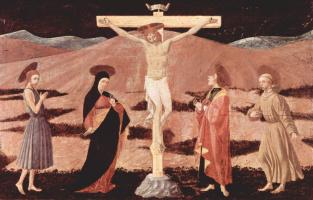 Распятый Христос, Мария, Иоанн Креститель, евангелист Иоанн и св. Франциск