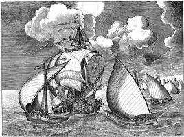 Питер Брейгель Старший. Военный корабль, сопровождаемый парусными галерами