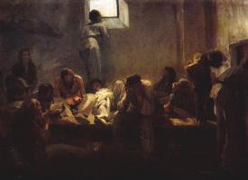 Николай Александрович Ярошенко. В пересыльной тюрьме. Около 1876