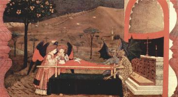 Паоло Уччелло. Легенда о причастии. Два ангела и два беса спорят перед алтарем за тело раскаявшейся